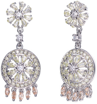 Genevive Silver Cz Deco Earrings