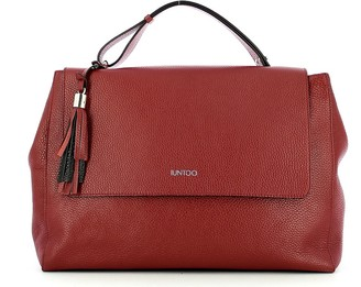 Iuntoo Wine Red Leather Armonia Convertible Top Handle Bag