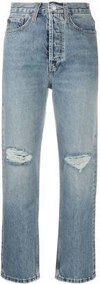 RE/DONE Cropped Ripped Jeans