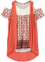 Speechless Girls 7-16 Slubbed Vest & Lace Yoke Cold Shoulder Top
