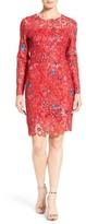 Elie Tahari Starla Floral Lace Sheath Dress