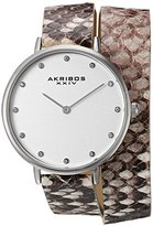 Akribos XXIV Women's Quartz Silver-Tone Case with Silver Dial and Swarovski Crystal Hour Markers on Beige Snakeskin Embossed Genuine Leather Double Strap Watch AK923SSGY