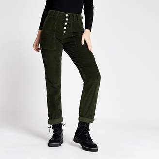 River Island Womens Green corduroy Mom button jeans