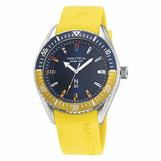 Nautica Men's Stainless Steel Quartz Silicone Strap