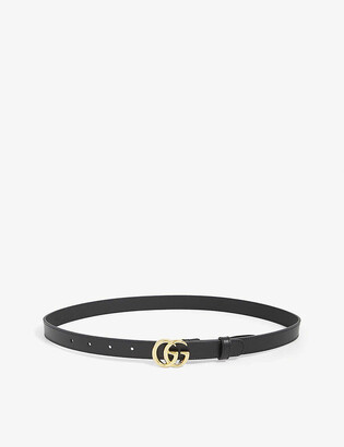 Gucci Double G thin leather belt