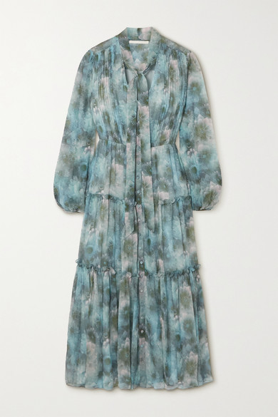 Thumbnail for your product : Jason Wu Collection Pussy-bow Tiered Floral-print Silk-chiffon Midi Dress - Light blue