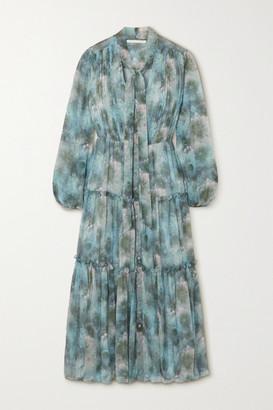 Jason Wu Collection Pussy-bow Tiered Floral-print Silk-chiffon Midi Dress - Light blue