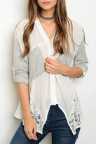 Hommage Ivory Gray Blouse
