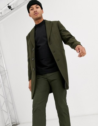 ASOS DESIGN wool mix overcoat in khaki
