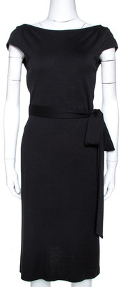 Diane von Furstenberg Black Wool Jersey Al Reeves Back Wrap Dress M