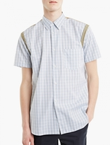 Comme des Garcons White Checked Short-Sleeved Shirt