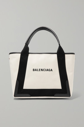 Balenciaga Cabas Small Leather-trimmed Canvas Tote - White
