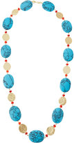 Kenneth Jay Lane Long Golden Coin & Turquoise & Coral-Hue Beaded Necklace