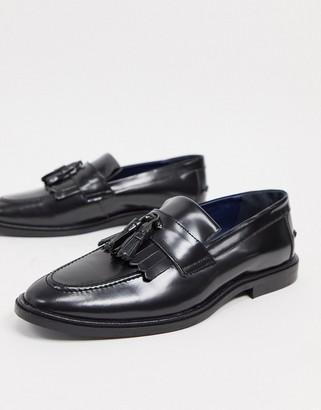 Walk London west tassel loafers in black hi shine