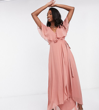 Asos Tall ASOS DESIGN Tall cape back dipped hem maxi dress