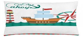 "East Urban Home Ahoy Its a Boy Indoor / Outdoor Lumbar Pillow Cover Size: 16"" x 36"""