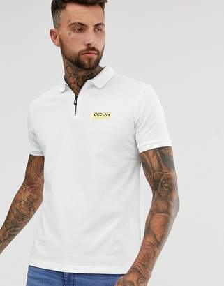 HUGO Deking chevron logo zip polo in white
