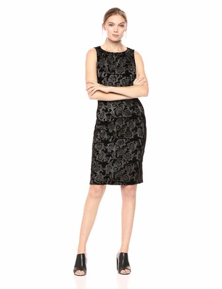 Adrianna Papell Women's Sleeveless Metallic Embroidered Velvet Sheath Dress