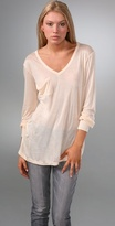 V Neck Pocket Tee with Long Sleeves
