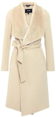 Mackage Sybil Shearling-Trim Wool Wrap Coat