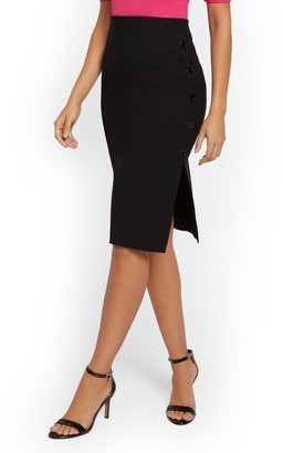 New York & Co. Whitney High-Waist Pull-On Pencil Skirt - Button-Accent - 7th Avenue