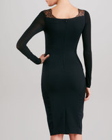 Donna Karan Lace-Trimmed Body Conscious Dress, Black