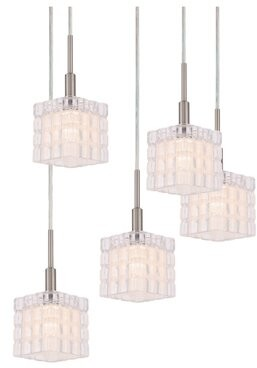 Rosendahl House of Hampton 5 - Light Cluster Square Pendant House of Hampton Finish: Satin Nickel/Bronze, Bulb Type: LED