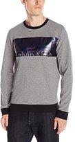 Calvin Klein Men's Slim Fit Solid Printed Metallic Block Long Sleeve T-Shirt