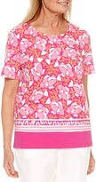 Alfred Dunner Reel It In Short Sleeve Border Print T-Shirt
