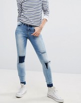 Noisy May Patchwork Jeans With Released Hem Detail