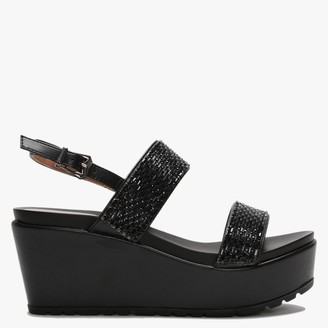 Moda In Pelle Pinchello Black Embellished Wedge Sandals