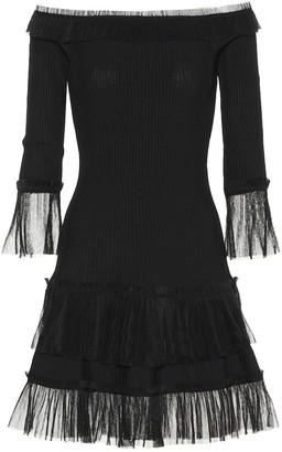 Jonathan Simkhai Tulle-trimmed knitted dress