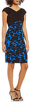 London Times Matte Jersey Printed Shutter V-Neck Sheath Dress