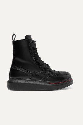 Alexander McQueen Leather Exaggerated-sole Ankle Boots - Black