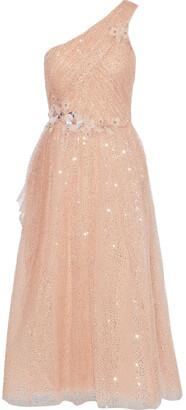 Marchesa One-shoulder Floral-appliqued Glittered Tulle Gown
