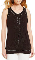 Peter Nygard Embroidered And Beaded Tank