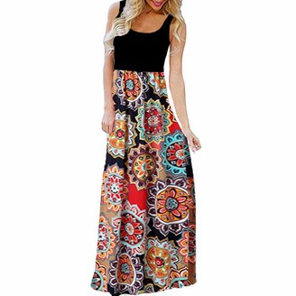 Rovinci Women's Dress Rovinci Women's Boho Floor-Length Dress O-Neck Sleeveless Cold Shoulder Tank Dress Ladies Bohemian Swing Vintage Casual Maxi Dress Floral Printed Daily Summer Holidays Beach Long Dress