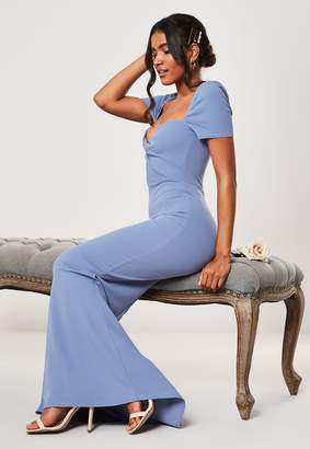 Missguided Bridesmaid Blue Sweetheart Twist Fishtail Maxi Dress