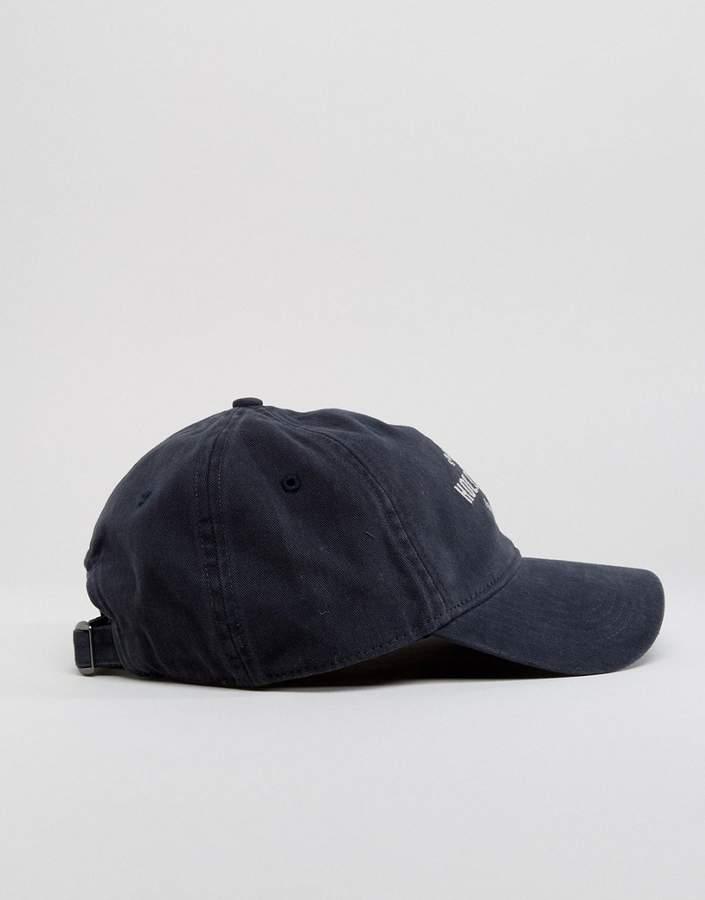 Hollister Twill Baseball Cap In Black