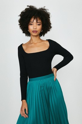Coast Long Sleeve Knitted Rib Square Neck Top