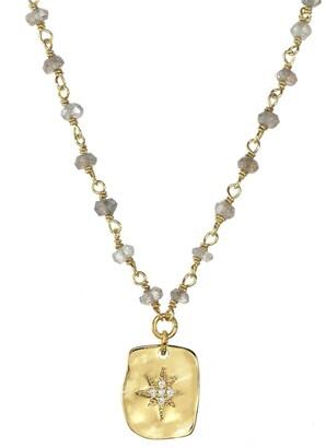 Rachel Reinhardt 14K Over Silver Labradorite Cz Wire Wrap Necklace