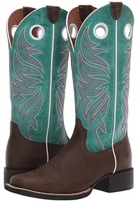 Ariat Round Up Ryder (Sassy Brown/Miami Blue) Cowboy Boots