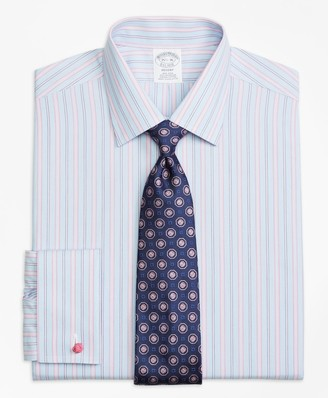Brooks Brothers Regent Fitted Dress Shirt, Non-Iron French Cuff Hairline Track Stripe