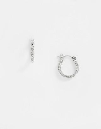 Pieces diamante mini hoop earrings in silver