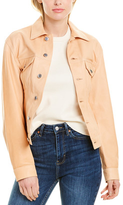 Helmut Lang Femme Leather Trucker Jacket