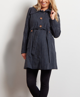 PinkBlush Navy Blue Wool-Blend Maternity Trench Coat