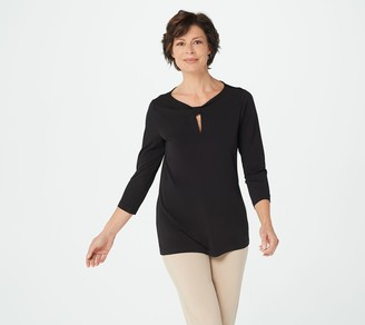 Susan Graver Liquid Knit Top with Keyhole Detail