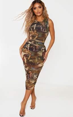 PrettyLittleThing Shape Renaissance Print Sleeveless Midi Dress