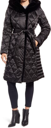 Ellen Tracy Hooded Puffer Jacket with Faux Fur Trim