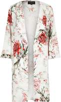River Island Womens White floral print duster coat